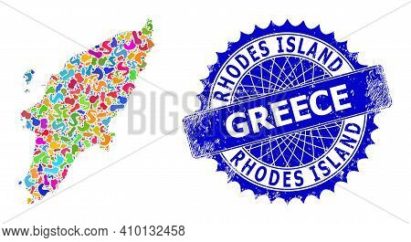 Rhodes Island Map Template. Spot Pattern And Grunge Seal For Rhodes Island Map. Sharp Rosette Blue S