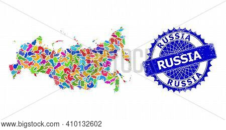 Russia Map Flat Illustration. Splash Mosaic And Grunge Seal For Russia Map. Sharp Rosette Blue Seal