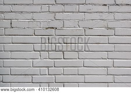 Classic Surface Of White Obsolete Bricks, Worn Quality Background, Texture For Further Graphic Work