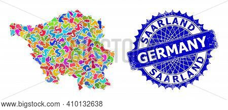 Saarland Land Map Abstraction. Splash Collage And Distress Badge For Saarland Land Map. Sharp Rosett