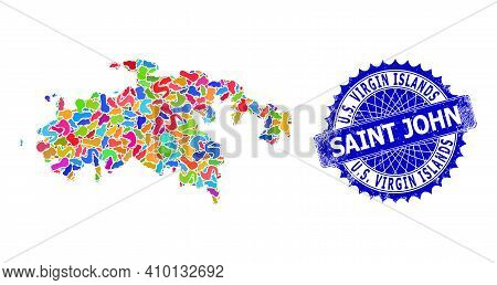 Saint John Island Map Vector Image. Spot Collage And Rubber Stamp For Saint John Island Map. Sharp R