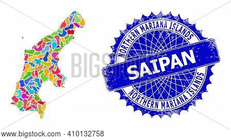 Saipan Island Map Vector Image. Spot Collage And Scratched Mark For Saipan Island Map. Sharp Rosette