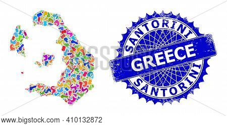 Santorini Island Map Template. Blot Collage And Unclean Seal For Santorini Island Map. Sharp Rosette