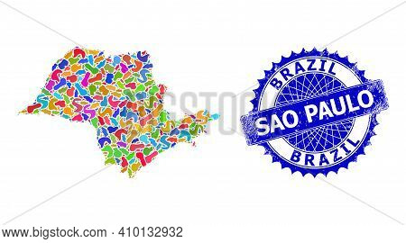 Sao Paulo State Map Flat Illustration. Spot Collage And Unclean Mark For Sao Paulo State Map. Sharp