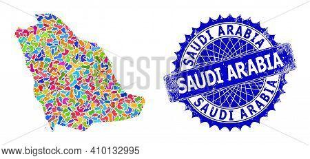 Saudi Arabia Map Flat Illustration. Splash Collage And Distress Stamp Seal For Saudi Arabia Map. Sha