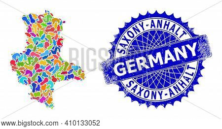 Saxony-anhalt Land Map Vector Image. Spot Mosaic And Corroded Mark For Saxony-anhalt Land Map. Sharp
