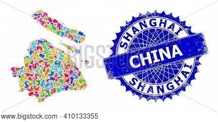 Shanghai City Map Template. Blot Mosaic And Rubber Badge For Shanghai City Map. Sharp Rosette Blue B