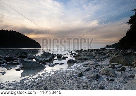 Seascape View Againts Colorful Sky