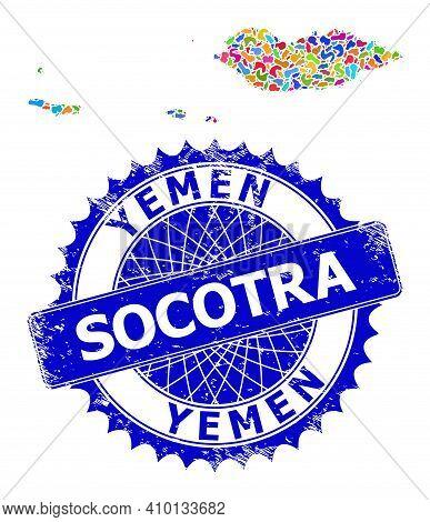 Socotra Archipelago Map Flat Illustration. Splash Collage And Corroded Stamp For Socotra Archipelago