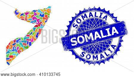 Somalia Map Abstraction. Spot Collage And Distress Stamp Seal For Somalia Map. Sharp Rosette Blue Ba