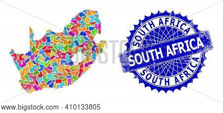 South African Republic Map Vector Image. Splash Pattern And Scratched Seal For South African Republi