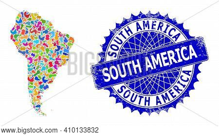 South America Map Vector Image. Blot Mosaic And Scratched Stamp For South America Map. Sharp Rosette