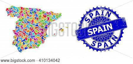 Spain Map Abstraction. Splash Collage And Unclean Stamp Seal For Spain Map. Sharp Rosette Blue Stamp