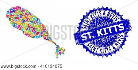 St Kitts Island Map Vector Image. Spot Collage And Distress Stamp For St Kitts Island Map. Sharp Ros