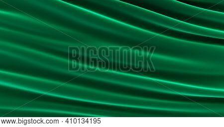 Smooth Elegant Green Silk Or Satin Luxury Cloth Texture, Beautiful Green Satin Fabric