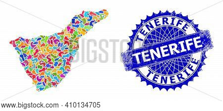 Tenerife Map Vector Image. Splash Mosaic And Scratched Stamp Seal For Tenerife Map. Sharp Rosette Bl