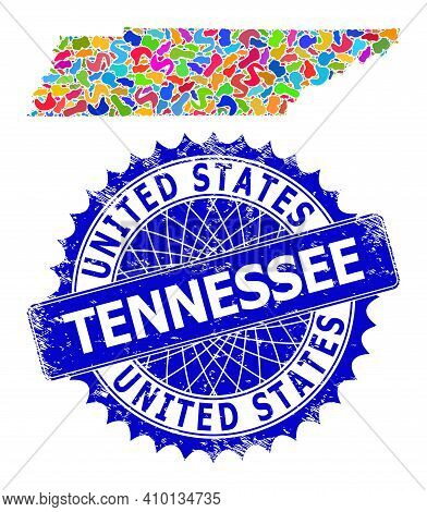 Tennessee State Map Vector Image. Blot Collage And Scratched Stamp For Tennessee State Map. Sharp Ro