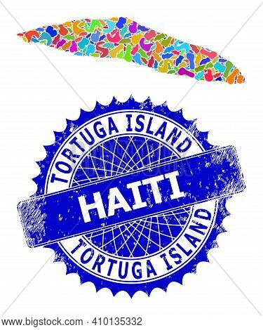 Tortuga Island Of Haiti Map Vector Image. Blot Pattern And Rubber Stamp Seal For Tortuga Island Of H