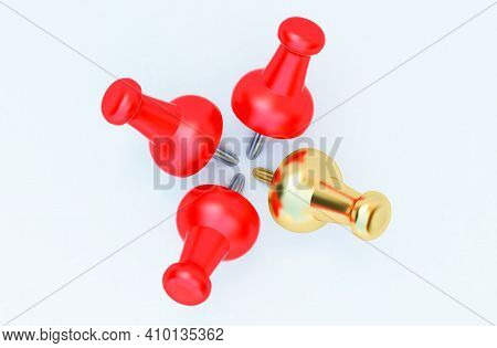 3d Render Of Red And Gold Pushpin, Realistic 3d Push Pins Pinned In Different Angles Isolated On Whi