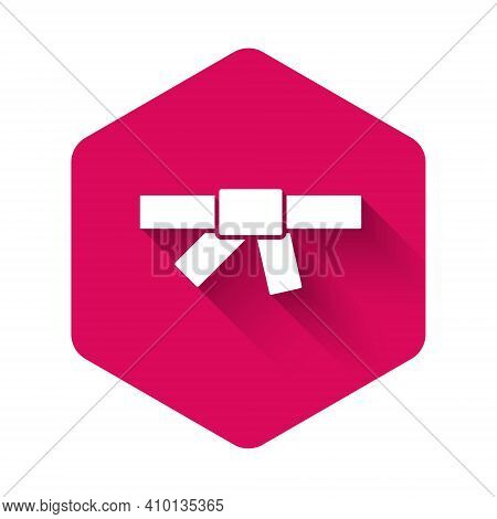 White Black Karate Belt Icon Isolated With Long Shadow Background. Pink Hexagon Button. Vector