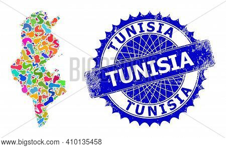 Tunisia Map Abstraction. Spot Mosaic And Distress Stamp Seal For Tunisia Map. Sharp Rosette Blue Sta