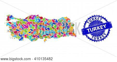 Turkey Map Abstraction. Splash Pattern And Unclean Mark For Turkey Map. Sharp Rosette Blue Mark With