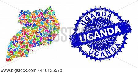 Uganda Map Vector Image. Blot Mosaic And Distress Seal For Uganda Map. Sharp Rosette Blue Mark With