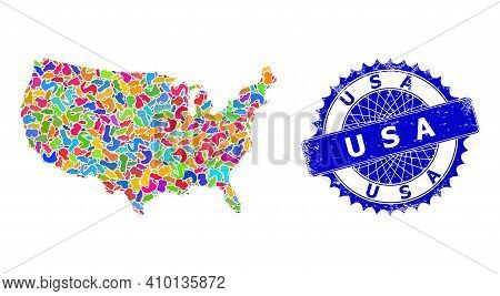 United States Map Template. Splash Pattern And Grunge Stamp For United States Map. Sharp Rosette Blu