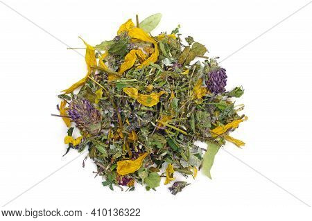 Herbal Tea On A White Background Top View. Herbal Collection Of Mint, Black Currant Leaves, Chamomil