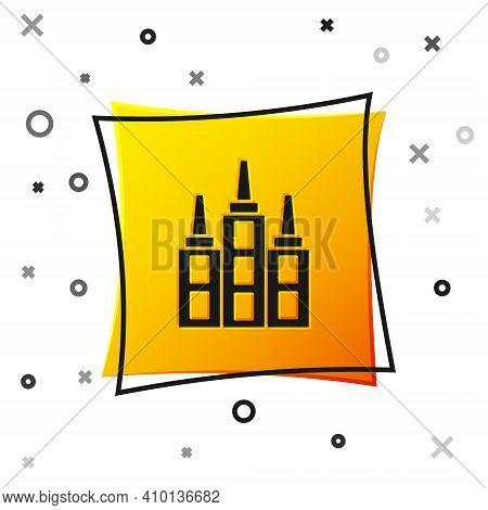 Black Skyscraper Icon Isolated On White Background. Metropolis Architecture Panoramic Landscape. Yel