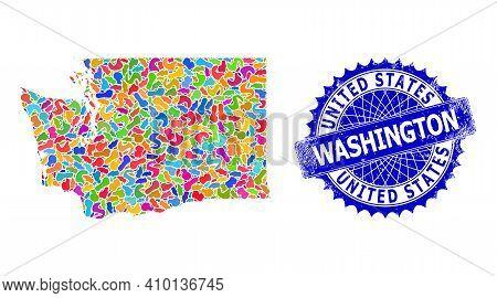 Washington State Map Vector Image. Blot Collage And Distress Stamp For Washington State Map. Sharp R
