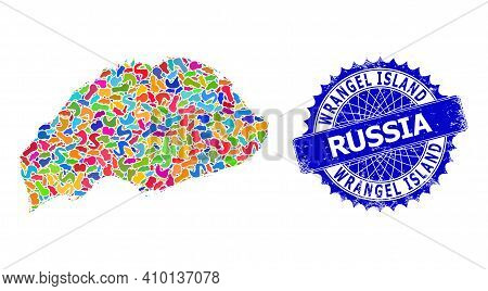 Wrangel Island Map Vector Image. Blot Collage And Rubber Stamp Seal For Wrangel Island Map. Sharp Ro