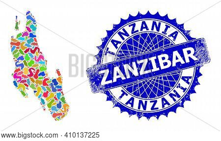 Zanzibar Island Map Flat Illustration. Spot Collage And Rubber Stamp For Zanzibar Island Map. Sharp