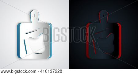 Paper Cut Cutting Board Icon Isolated On Grey And Black Background. Chopping Board Symbol. Paper Art