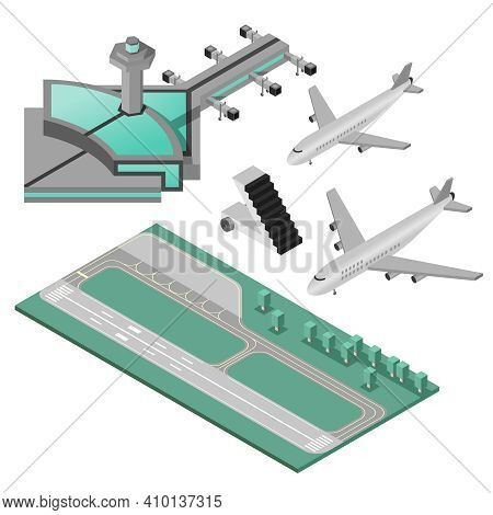 Airport Stairway Airplane And Runway Decorative Icons 3d Isometric Set Isolated Vector Illustration