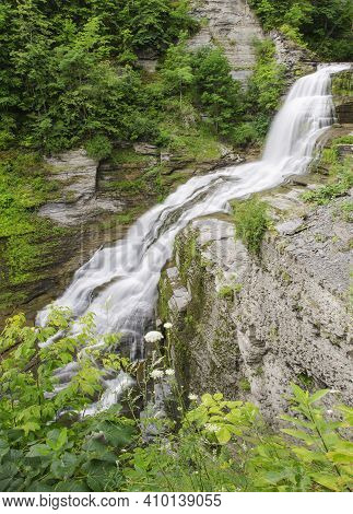 Lucifer Falls Flows Strong After Heavy Summer Rains, Robert Treman State Park, Tompkins County, New