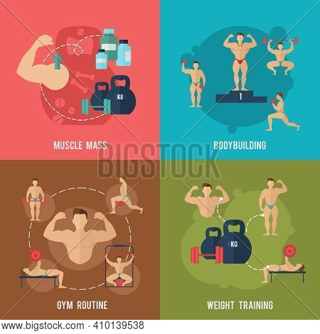 Bodybuilding Flat Icons Set With Muscle Mass Gym Routine Weight Training Isolated Vector Illustratio