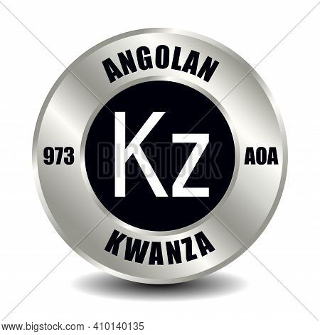Angola Money Icon Isolated On Round Silver Coin. Vector Sign Of Currency Symbol With International I