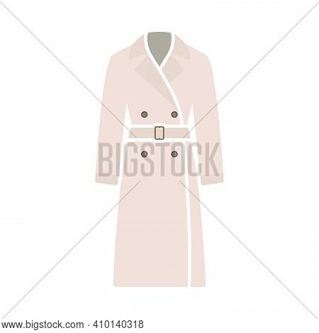 Business Woman Trench Icon. Flat Color Design. Vector Illustration.
