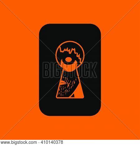 Criminal Peeping Through Keyhole Icon. Black On Orange Background. Vector Illustration.