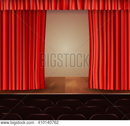 Theater Stage With Seats Wooden Floor And Red Velvet Open Retro Style Curtain Background Vector Illu