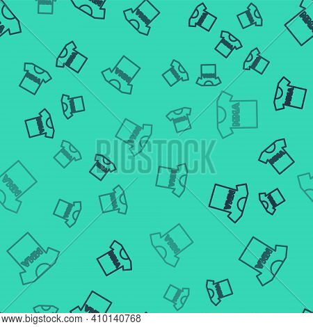 Black Line T-shirt With Fight Club Mma Icon Isolated Seamless Pattern On Green Background. Mixed Mar