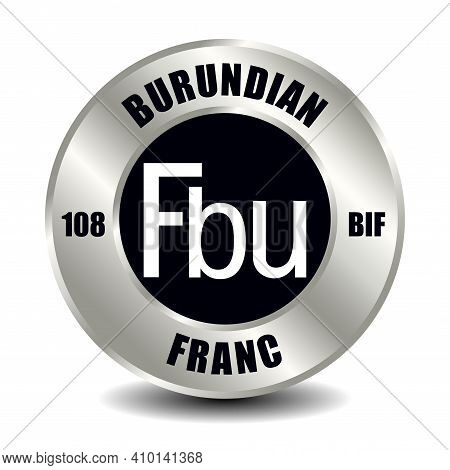 Burundi Money Icon Isolated On Round Silver Coin. Vector Sign Of Currency Symbol With International