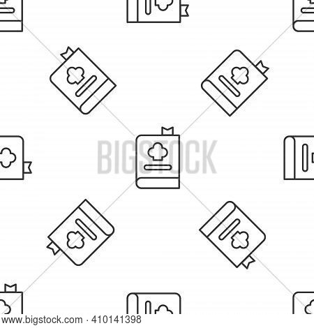 Grey Line Cookbook Icon Isolated Seamless Pattern On White Background. Cooking Book Icon. Recipe Boo