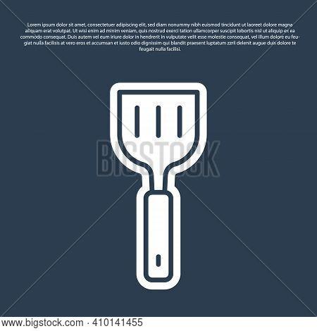 Blue Line Spatula Icon Isolated On Blue Background. Kitchen Spatula Icon. Bbq Spatula Sign. Barbecue