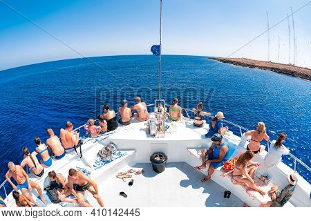 Agia Napa, Cyprus - August, 10 2019: Tourists On A Cruise Boat At Sea