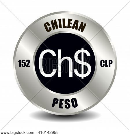 Chile Money Icon Isolated On Round Silver Coin. Vector Sign Of Currency Symbol With International Is