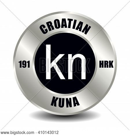 Croatian Kuna, Croatia Money Icon Isolated On Round Silver Coin. Vector Sign Of Currency Symbol With