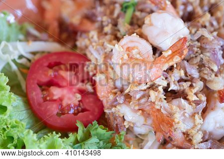 Fried Shrimp With Pepper And Crispy Garlic. Delicious Thai Food