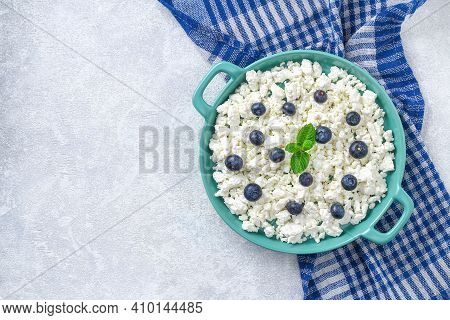 Cottage Cheese With Berries And Mint. Cottage Cheese In A Bowl. Top View. Dairy Products.